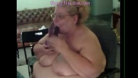 double dildo blowjob for fat mature woman !