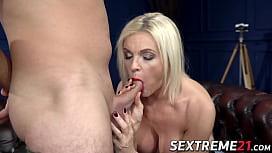Slut with big boobs lets a stud suck her tits like a lesbian