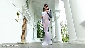 Jeny Smith - Sporty Look White pantyhose flashing