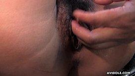 Japanese beauty, Haru Sakuraba getting a hot pussy massage, uncensored