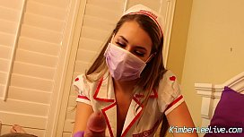 Nurse Kimber Lee Gives Handjob in her Purple Latex Gloves
