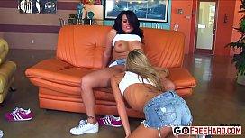 Interracial lesbian gang bang porn HD Video