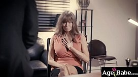 Busty GILF secretary Darla Crane seduces her young CEO Seth Gamble and started a hot office fuck.