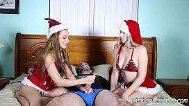 Teens Kimber Lee A nn Taylor Give Christmas Handjob