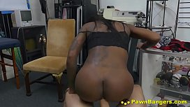 Sexy Black Hottie Takes Huge White Cock In Sex For Cash Deal