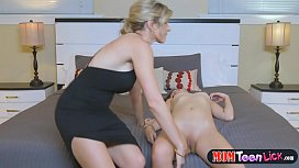 Stepmom disciplines rebel teenie with a strapon dildo