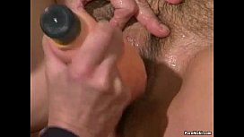 Granny gets her hairy pussy dildoed and fucked