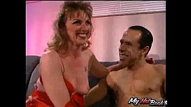 - This lovely housewife is a bit hesitant at first,