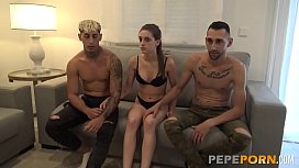 Innocent Anita wants to have her FIRST THREESOME with two young dudes!