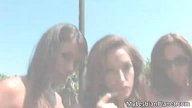 Two aroused sexy lesbians making out