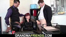 Two dudes share shaved pussy office old lady