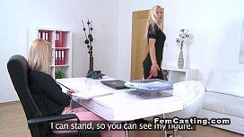 Female agent in bodyhose licks busty blonde