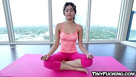 Tiny yoga teen fucked by huge cock and cum faced