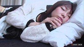 Sleeping asian teen woken up by hard cock and cum spray