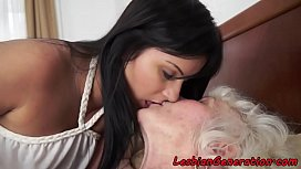 Hairy granny and lesbian beauty pussylicking