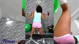 Fitness Rooms Big booty Latina Canela Skin wild workout lesbian squirt with Anna Rose