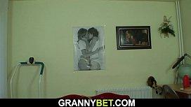 Young boy picks up huge boobs hairy grandma