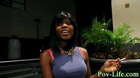 Ebony teen facialized pov