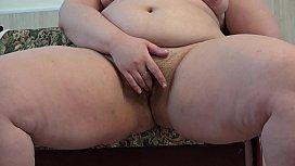 Thick Russian girl masturbates her hairy pussy