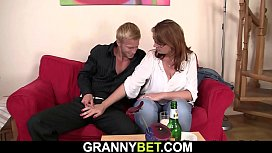 Boozed mature women swallows his big cock