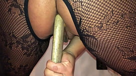 Homemade Girlfriend a Sexy British Milf - POV Filming Closeup on My iPhone, Squatting on a Big Long Pick Axe Handle, Deep in Her Dirty Ass Hole