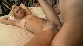 Amazing blonde lady sucks cock and gets it deeply inside wet cunt