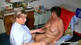 Obese grandma gets her cunt eaten by chubby blonde
