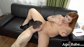 Horny mature Tammu Jean is a big tittied granny who bangs young Nikki