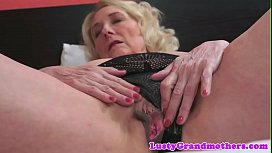 Saggy granny in lingerie gets spooned