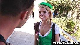 Tiny Teen In Uniform Selling Cookies Gets Creampie