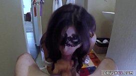 Shy hairy teen first time Swalloween Fun
