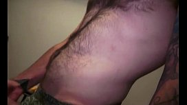 Hot beard hipster jerkoff and eat his own cum