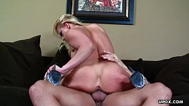 Fake tits blonde getting her ass plugged up with a fat dick