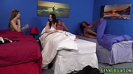 Hot clothed dominas blow