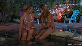Brenda James And Elexis Monroe Having Fun Time At Night By The Pool