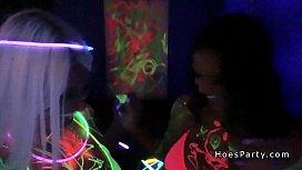 Hot amateur babes having blacklight foursome party