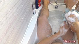 POV: Great orgasm in bath play. Amateure couple have fun at home