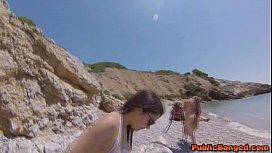 Incredibly hot babe Valentina Nappi fucked on a beach in public