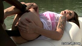 Interracial anal sex on a boat with Wanessa