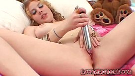 Horny Redhead Dildoing Hairy Wet Clit
