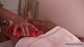 Old granny masseuse jumps on young cock xxx video