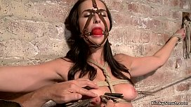 Tight tied slave finger fucked