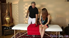 Tricked teen jizz masseur