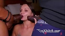 White slut taking 2 big black cocks at the same time