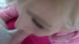 Blonde housewife Jolene gives a cum swallowing blowjob