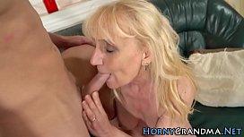 Blonde gilf mouth jizzed