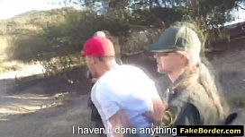 Border agent fucks two stunning babes outdoors