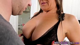Mature brunette skank with big tits