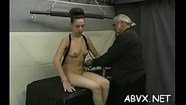Naked woman bizarre bondage at home with horny fellow