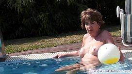 Horny big tittied granny fucking cock